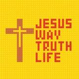 Christian Art Kleurrijke met elkaar verbindende plastic bakstenen, plastic bouw Jesus is de manier, en waarheid en het leven royalty-vrije illustratie