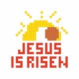 Christian Art Kleurrijke met elkaar verbindende plastic bakstenen, plastic bouw Jesus is toegenomen royalty-vrije illustratie