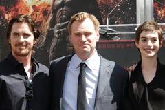 Anne Hathaway, Christian Bale, Christopher Nolan Fotografia Stock