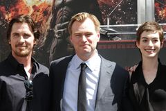 Anne Hathaway, Christian Bale, Christopher Nolan Stockfotografie