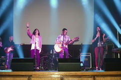 Christian band performing at a Christian concert Stock Photo