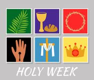 Free Christian Banner Holy Week With A Collection Of Icons About Jesus Christ. The Concept Of Easter And Palm Sunday. Flat Stock Photos - 132857973