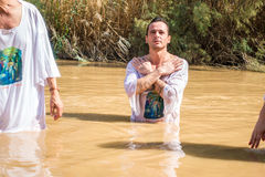 Christian baptism in Jordan river Royalty Free Stock Photography