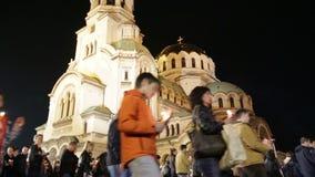 Christian believers Aleksander Nevsky Easter stock video footage