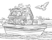 Noahs Ark. Christian Bible story of Noah s Ark. With a white dove returning with olive branch from emerging land in the distance black and white coloring page Royalty Free Stock Photography