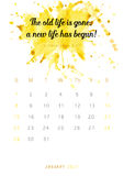 Christian bible verse 2017 calendar with colorful paint theme  Stock Image