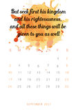Christian bible verse 2017 calendar with colorful paint theme on white background Royalty Free Stock Photography