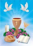 Blue background concept christian symbols with wooden chalice bread bible grapes candle dove. Christian blue communion illustration, with doves wooden goblet vector illustration