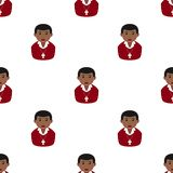 Christian Boy Icon Seamless Pattern negro Imagenes de archivo