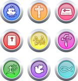 Christian buttons. Collection of very colourful Christian buttons isolated on white Stock Photo