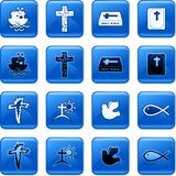 Christian buttons. Collection of blue square Christian rollover buttons Stock Image