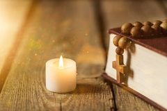 Christian. Candle bible church open religion religious Royalty Free Stock Photo
