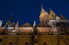 Christian cathedral in night Budapes Stock Image