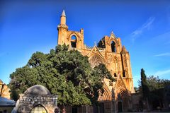 Christian cathedral rebuilt in mosque, Famagusta, northern Cyprus. The Christian cathedral rebuilt in mosque, Famagusta, northern Cyprus Royalty Free Stock Images