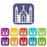 Christian catholic church building icons set vector illustration