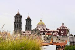 Christian Catholic Colonial Cathedral of Puebla Royalty Free Stock Images