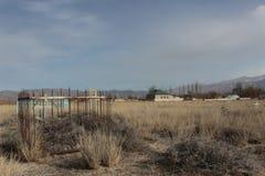 Christian cemetery in Kochkor, Kyrgyzstan Stock Image
