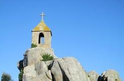 A christian chapel on coast rocks in Ploumanach Stock Photos