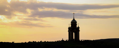 Christian chapel. Old Christian chapel during sunset Royalty Free Stock Photo
