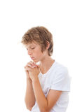 Christian child praying. Christian child hands clasped in prayer praying stock images