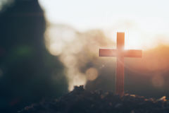 Christian, Christianity, Religion background. Cross on blurry sunset background. Christian, Christianity, Religion copyspace background stock photos