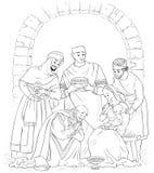 Christian Christmas Nativity Scene Coloring-Seite Jesus, Mary, Joseph und die drei Könige vektor abbildung
