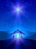 Christian Christmas natt Arkivbild