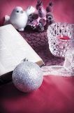 Christian christmas. Christmas still-life background with x-mas decorations, a bible and a Christian cross Royalty Free Stock Photography