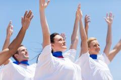 Christian chruch praising. Group of Christian church choir praising and worshiping outdoors Royalty Free Stock Photo