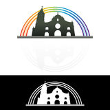 Christian Church. A drawing of Christian Catholic Church with rainbow background Royalty Free Stock Photo