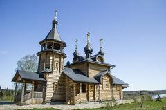 Christian church. Christian orthodox wooden church in Russia. Verkhoturie Royalty Free Stock Image