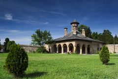 Christian church. With green lawn and beautiful blue sky Stock Photo