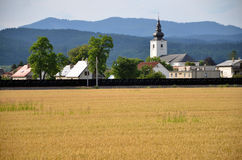 Christian church as an part of village, forested hills in background, yellow field of grain in foreground Royalty Free Stock Image
