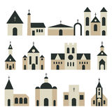 Christian church with basilica and tower vector set. Religion building architecture illustration Stock Photo