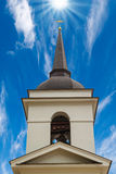 Christian church bell tower. On blue sky background stock images