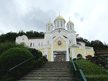 Christian Church on blue sky background stock photo