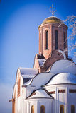 Christian church of brick  and golden domes Royalty Free Stock Photo