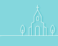 Christian Church Building Background. Christian Church Building Vector Background. Flat Outline Style Stock Image