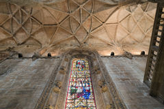 Christian church ceiling with stained glass windows royalty free stock photo