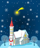 Christian Church And Christmas Star. Winter Landscape. Vector Illustration Card. Christian Church Near Me. Royalty Free Stock Photography