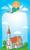 Christian Church With Cross. Vector Illustration. Stock Photo