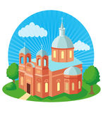 Christian Church With Cross, Vector Illustration. Christian Church Near Me. Christian Church History. Royalty Free Stock Photo