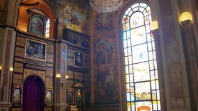 The Christian Church, Divine icon, Altar and Religion Interior stock footage