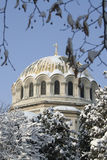 Christian church dome. Covered with snow Stock Photography