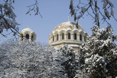 Christian church dome. Covered with snow royalty free stock photography