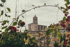 Christian church in Girona on spring plants on a cloudy day Stock Images