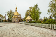 Christian church with gold domes Royalty Free Stock Photos