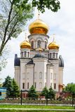 Christian church with golden domes.  stock photo