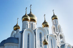 Christian Church. The Golden domes of Christian Church on blue sky background Stock Photography
