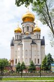 Christian church with golden domes.  stock photos
